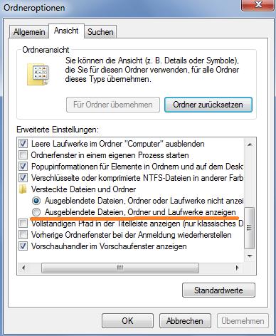 Ausgeblendete Dateien wieder sichtbar machen