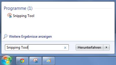 Das Snipping Tool unter Windows 7