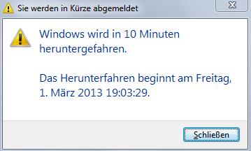 Der Computer wird in 10 Minuten heruntergefahen!