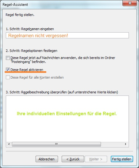 Der Regelassistent in Outlook 2010