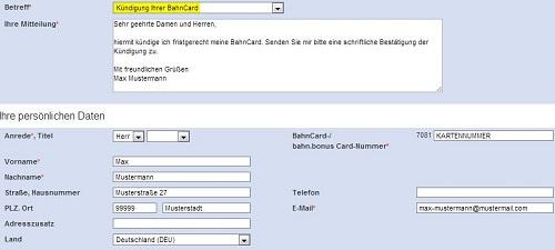 bahncard per brief oder fax kndigen - Bahncard Kundigen Muster
