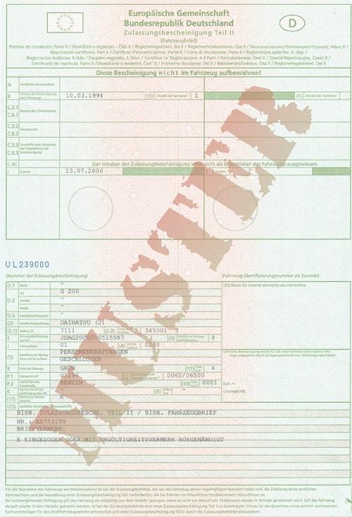 Zulassungsbescheinigung (Fahrzeugbrief) seit Oktober 2005